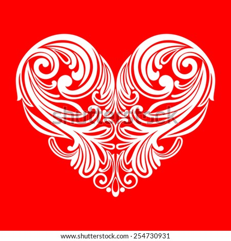 White valentine heart in floral style isolated on Red  background. Celebration background with heart. Vector illustration  - stock vector