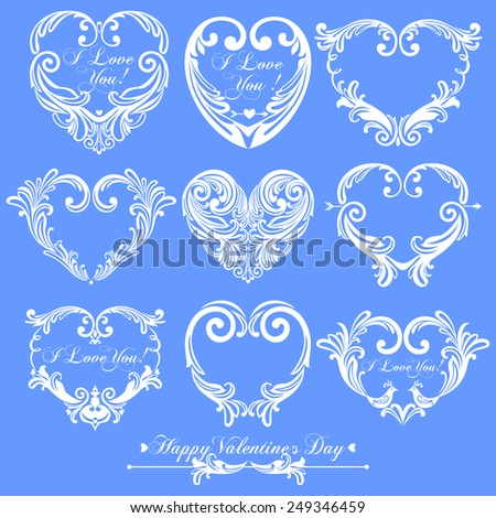 9 White valentine hearts isolated on blue  background in vintage style for greeting cards. Vector illustration  - stock vector