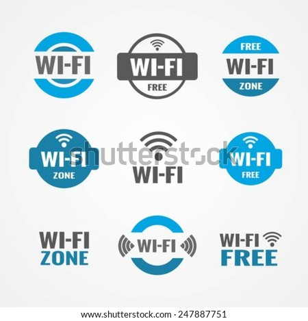 Wi-fi icons set - stock vector