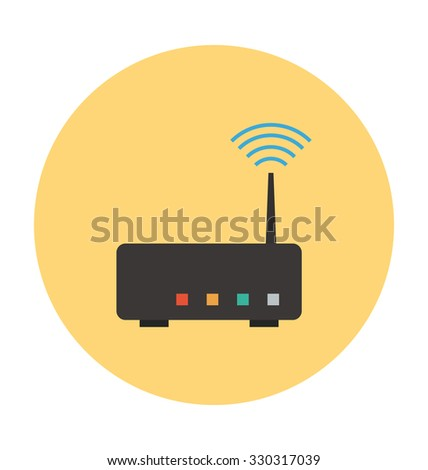 Wifi Router Colored Vector Illustration  - stock vector