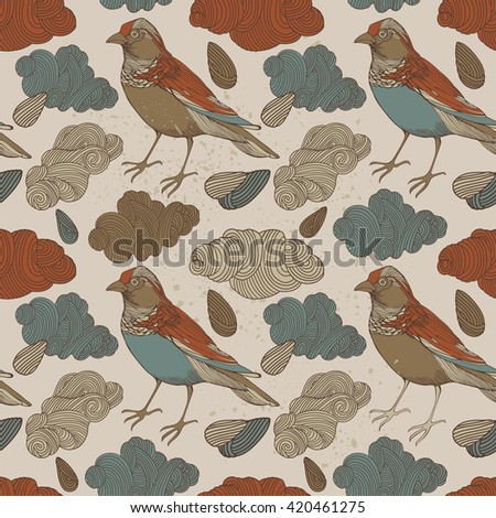 Wild birds with clouds, seamless pattern on white background vector illustration
