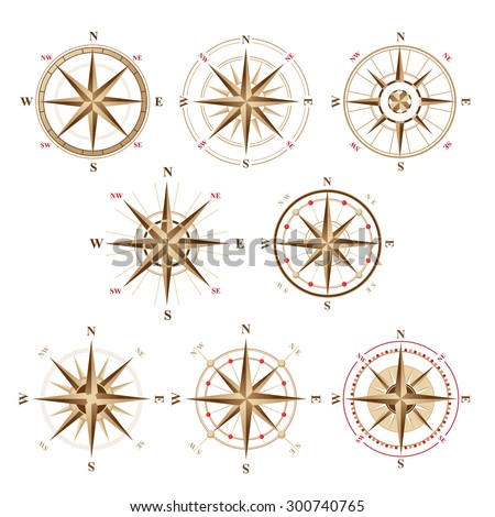 8 wind rose icons in vintage style  - stock vector
