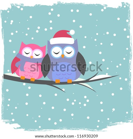Winter card with cute owls - stock vector