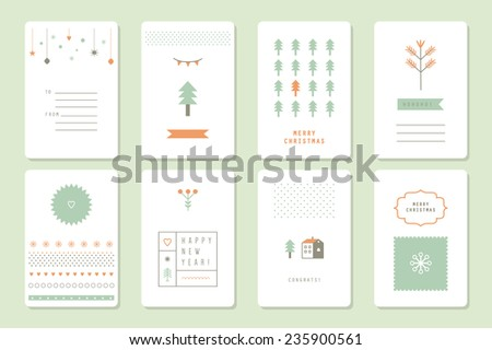 8 winter cards. Icons and decor elements. Merry Christmas and Happy New Year. Nice details and easily identifiable.  - stock vector