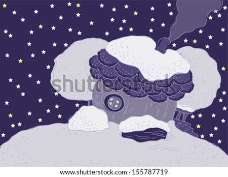 Winter landscape. House with a chimney and a porch. - stock vector
