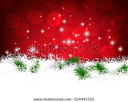 Winter red abstract background. Christmas defocused illustration with snowflakes. Vector banner with place for text.  - stock vector