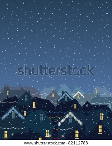 winter scene with  snowflakes falling over city rooftops illuminated with christmas lights in eps 10 format - stock vector