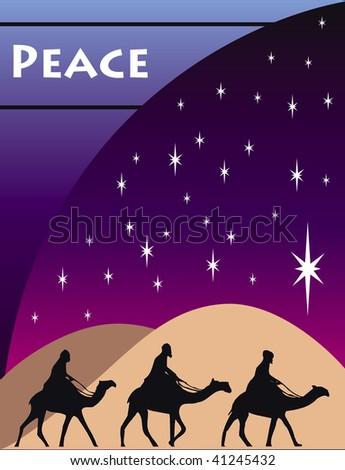 3 Wise men kings in Bethlehem on Christmas Day. - stock vector