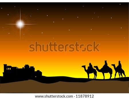 3 Wisemen with Bethlehem in the background - stock vector