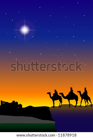 3 Wisemen with Bethlehem in the background (Quite possibly the best vector I've ever done - or nearly done. Check out the speedo in my portfolio) - stock vector
