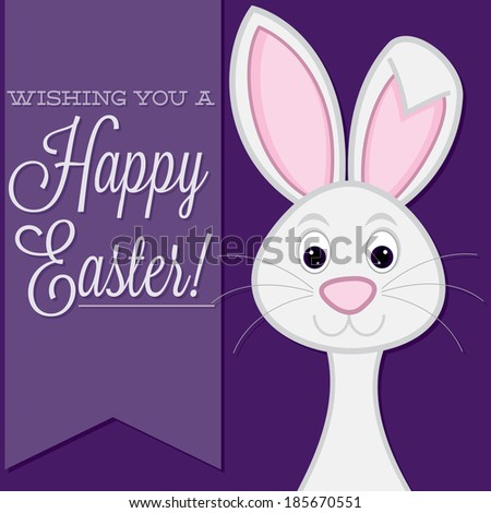 """""""Wishing you a Happy Easter"""" retro style bunny card in vector format. - stock vector"""