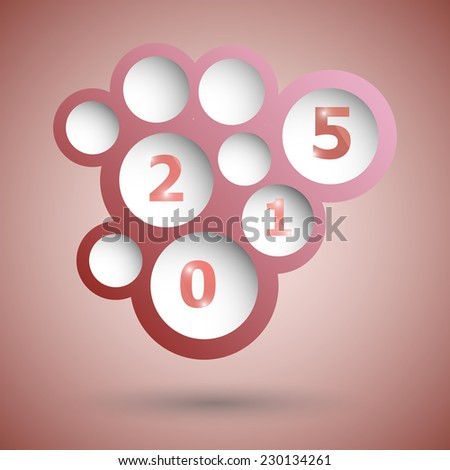 2015 with abstract red speech bubble background, stock vector
