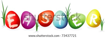 With scribed letter E, A, S, T, R . Easter egg. Easy to recoloring, eps10 file with transparency and meshes. No font used. - stock vector