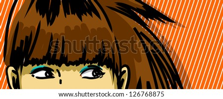 woman peeking out vector drawing, stripped pattern red background - stock vector