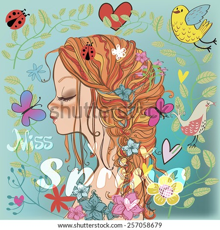 ? woman's face in profile with spring set. - stock vector