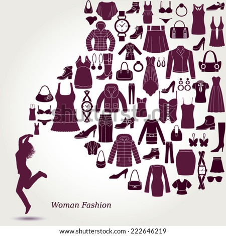 Women's fashion background. Clothing and accessories icons. Happy young women. - stock vector