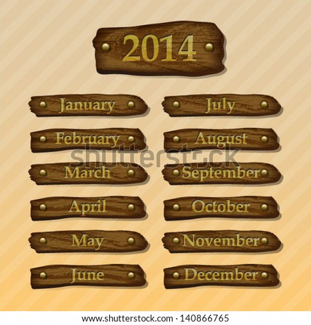 2014 wood month boards - stock vector