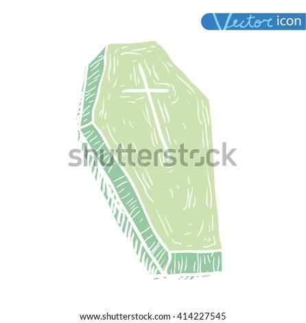 Wooden coffin. vector illustration.silhouette black - stock vector