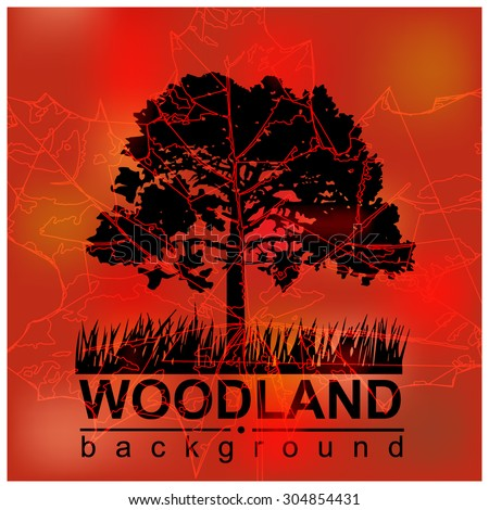 Woodland eco banner. Red and black tones. Can be used as poster, badge, wallpaper, backdrop, background, icon, sign.