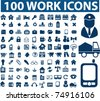 100 work icons, vector - stock vector