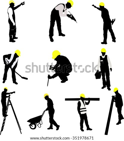 worker silhouettes collection - vector - stock vector