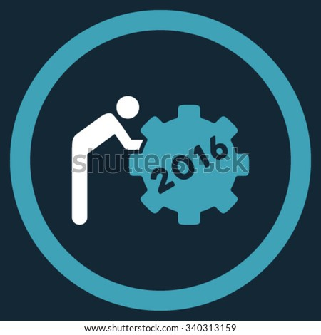 2016 Working Man vector icon. Style is bicolor flat circled symbol, blue and white colors, rounded angles, dark blue background. - stock vector