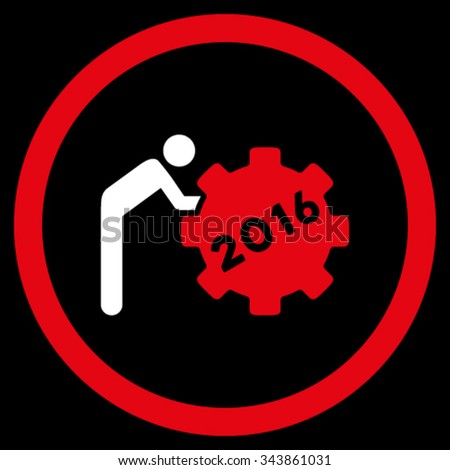 2016 Working Man vector icon. Style is bicolor flat circled symbol, red and white colors, rounded angles, black background. - stock vector