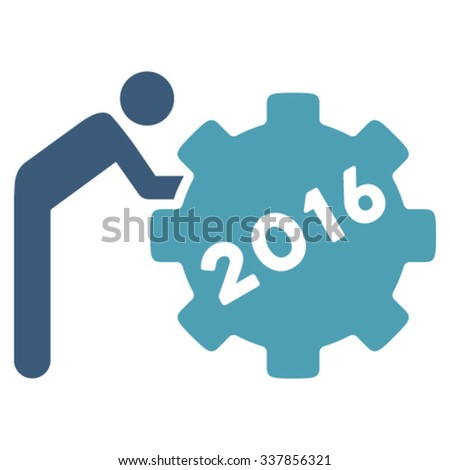 2016 Working Man vector icon. Style is bicolor flat symbol, cyan and blue colors, rounded angles, white background. - stock vector