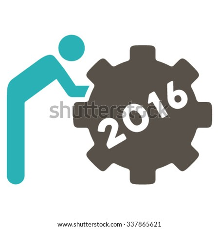 2016 Working Man vector icon. Style is bicolor flat symbol, grey and cyan colors, rounded angles, white background. - stock vector