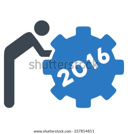 2016 Working Man vector icon. Style is bicolor flat symbol, smooth blue colors, rounded angles, white background. - stock vector