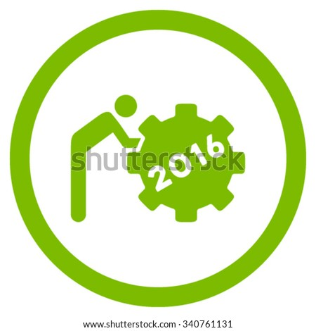 2016 Working Man vector icon. Style is flat circled symbol, eco green color, rounded angles, white background. - stock vector