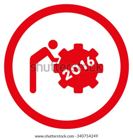 2016 Working Man vector icon. Style is flat circled symbol, red color, rounded angles, white background. - stock vector