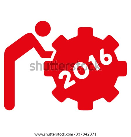 2016 Working Man vector icon. Style is flat symbol, red color, rounded angles, white background. - stock vector