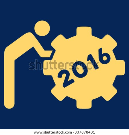 2016 Working Man vector icon. Style is flat symbol, yellow color, rounded angles, blue background. - stock vector