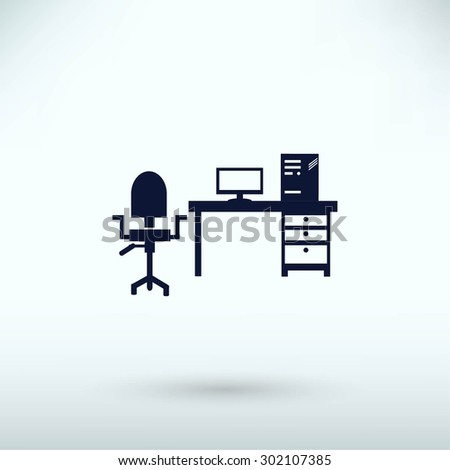 Working on Computer. Vector illustration - stock vector