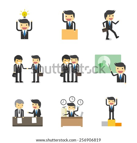 working process of businessman character  - stock vector
