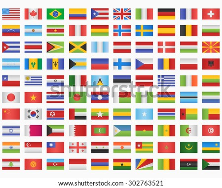 100 World Flags - stock vector