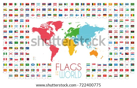 Political asia map vector illustration flags vectores en stock 204 world flags with world map by continents vector illustration gumiabroncs Image collections