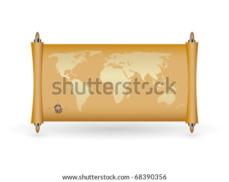 world map on papyrus with gold fill and a compass , vector illustration