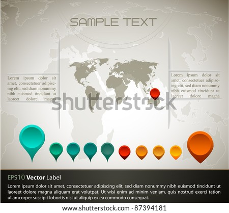 World map with set of gps indicator button | EPS10 Compatibility Required - stock vector