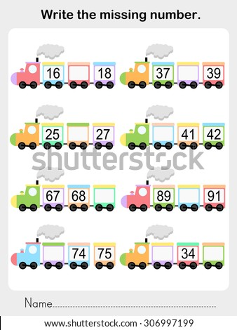 write the missing number - Worksheet for education - stock vector