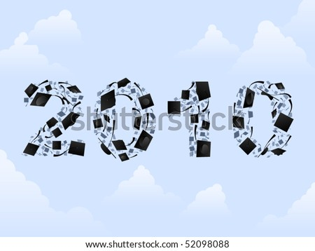2010 written in numbers made of graduation caps - stock vector