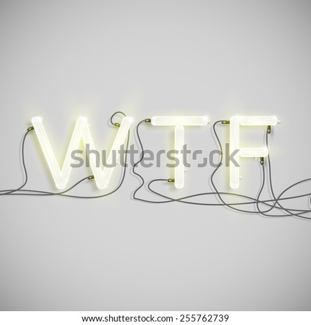 """WTF"" made by neon type, vector - stock vector"