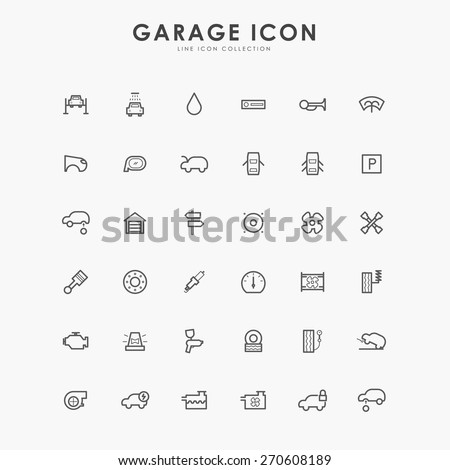 6x6 car and garage minimal line icons - stock vector