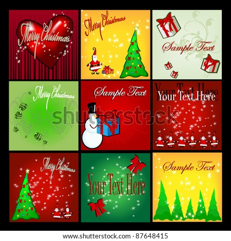 300x300 Christmas web banner set - stock vector