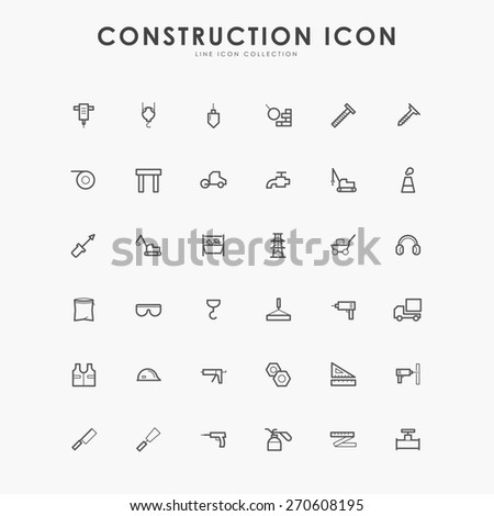 6x6 construction minimal line icons - stock vector