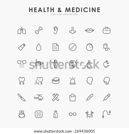 6x6 health and medicine line icons - stock vector