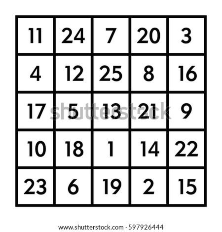 Magic square order 5x5