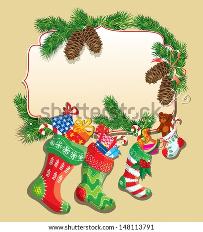 X-mas and New Year card with family Christmas stockings. Frame with empty space for text. - stock vector