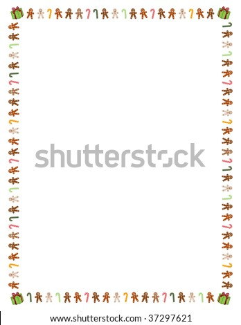"8.5"" x 11"" (U.S. letter sized) border of colorful gingerbread men, candy canes and presents - stock vector"